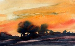 Dakota Sunset Watercolor James Pollock